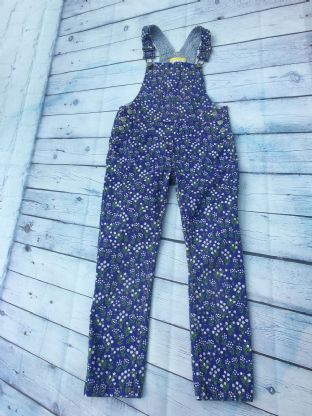 Mini Boden cotton cornflower blue dungarees aged 6-7
